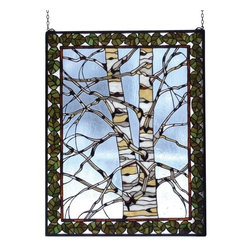 "Meyda Tiffany - Meyda Tiffany 73265 Stained Glass Tiffany Window Outdoor Windows Collec - 28"" W X 36"" H Birch Tree In Winter WindowA Bare Branched Tan And White Birch Tree Is Framed With Bronzed Green Leaves Bordered In Bark Brown Against An Icy Clear Glass Sky. This Meyda Tiffany"