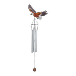 GSC - 32 Inch Eagle in Flight Stain Glass Wind Chime - This gorgeous 32 Inch Eagle in Flight Stain Glass Wind Chime has the finest details and highest quality you will find anywhere! 32 Inch Eagle in Flight Stain Glass Wind Chime is truly remarkable.