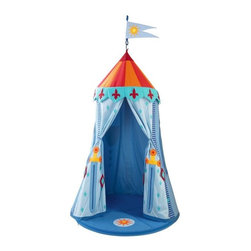 HABA - Knight's Hanging Tent - What a cute tent for little boys and girls! It can be set up indoors to transform your little one's room into a magical place. It has vibrant cloth panels with sword and fleur de lys designs that drape over a sturdy frame. Use it for pretend play, where the fun and possibilities are only limited by your child's imagination!