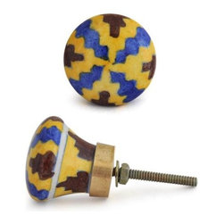 "Knobco - Zig-Zags Knob, Blue, Yellow And Brown - Blue, Yellow and Brown hand painted knob from Jaipur, India. Unique, hand painted cabinet knobs for your kitchen    cabinets. 1.5"" in diameter. Includes screws for installation."