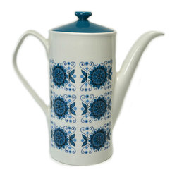 Lavish Shoestring - Consigned Turquoise and White Large Coffee Pot by Johnson Brothers, Vintage - This is a vintage one-of-a-kind item.