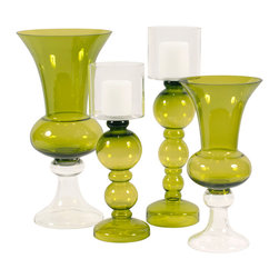 Howard Elliott - Howard Elliott 4 Piece Green Hand Blown Trumpet Glass Vase Set - Green hand blown trumpet glass vase with clear glass bottom - tall