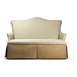 Kathy Kuo Home - French Country Jute Linen Skirted Dining Settee Banquette Seat - High contrast meets high style in the lines of this tack upholstered, skirted sofa. Combining classic lines with a fresh contemporary attitude and contrasting linen, this piece would fit beautifully into contemporary rustic settings as easily as it would in traditional or French country homes.  Can be used as a traditional sofa or as dining seating