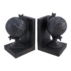 Zeckos - Pair of Decorative Globe Bookends Cast Iron Look - This set of globe bookends is a wonderful addition to any bookshelf, mantel, desk, or table in your home or office. Made of cold cast resin, each measures 7 1/2 inches tall, 4 1/2 inches long, and 4 1/4 inches deep. The bookends have a black, antique finish that make them look as though they are cast iron. This set is a lovely gift for the avid reader in your life, and is sure to be admired.