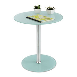 Safco - Safco Glass Accent Table, Tempered Glass/Steel, 17 Dia. x 19 High, White/Silver - Specially designed to brighten any choice space. Sturdy steel and glass combination makes this table the perfect complement to any reception, guest or waiting area. Utilize the table's clean chrome pedestal to add a touch of class to your everyday workspace. Make it fun, make it functional, but most importantly make an impression to last a lifetime.