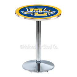 Holland Bar Stool - Holland Bar Stool L214 - Chrome Marquette Pub Table - L214 - Chrome Marquette Pub Table belongs to College Collection by Holland Bar Stool Made for the ultimate sports fan, impress your buddies with this knockout from Holland Bar Stool. This L214 Marquette table with round base provides a commercial quality piece to for your Man Cave. You can't find a higher quality logo table on the market. The plating grade steel used to build the frame ensures it will withstand the abuse of the rowdiest of friends for years to come. The structure is triple chrome plated to ensure a rich, sleek, long lasting finish. If you're finishing your bar or game room, do it right with a table from Holland Bar Stool. Pub Table (1)