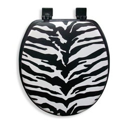 Ginsey - Ginsey Cushioned Standard Toilet Seat in Zebra - Enjoy cushioned comfort and a decorative zebra pattern to enhance your bathroom's decor. This standard size toilet seat has adjustable black plastic hinges and is easy to install with the included hardware.