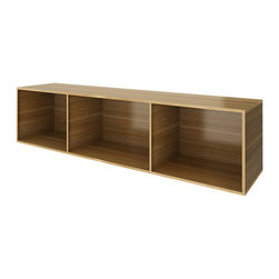 Turnstone - Bivi Depot - The Bivi Depot is a low, three-cubbie storage shelf designed for use with the Bivi office system by Turnstone. It's also well-suited for use separately if desired. Made from laminated MDF.
