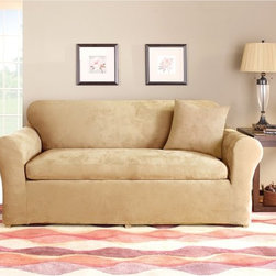 Sure Fit - Sure Fit Stretch Suede Two Piece Loveseat Slipcover - 37606 - Shop for Chair and Slip Covers from Hayneedle.com! The Stretch cover is a one-piece cover made from a soft poly/cotton blend and spandex material. Its stretching qualities offer a clean tailored look for both box and T-cushion style furniture. It features an adjustable arm width and inner pleats to minimize tucking.About Sure FitSurefit Inc. is widely known for its attractive quality furniture covers slipcovers and decorative accessories. The success of their ready-made furniture slipcovers and accessories is based on extensive experience providing cost-effective decorative solutions made to fit in a broad range of styles to meet the needs of all customers. Sure Fit's furniture slipcover product line includes slipcovers for sofas loveseats chairs oversized chairs wing chairs dining room chairs recliners ottomans and folding chairs as well as furniture and pet throws. Sure Fit also sells coordinating decorative pillows. Sure Fit is dedicated to quality product with rigorous durability and performance standards that are second to none. Many patterns feature dual-action Scotchgard Protector to repel and release stains. Home of the Ten Minute Makeover Sure Fit provides an attractive and affordable solution for consumers who need to protect furniture from children pets and general wear or want to quickly and cost-effectively upgrade their furniture and enhance the appearance of any room.Please note this product does not ship to Pennsylvania.