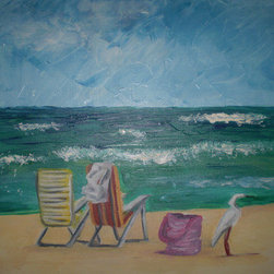 St. Augustine Afternoon (Original) by Sherri Richards - This is a scene of abandoned beach chairs and a curious (I think egret bird) that happened to walk over to the bag.  It is an impressionistic beach scene that comes with an off white wooden frame.