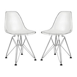 "Modway - Modway EEI-1266 Paris Kids Chair Set of 2 in Clear - Introduce your kids to mod while they explore the effects of gravity. Instead of being impressed by the chair's famously deep seat pocket and stylish design, kids will find it more compelling to try and balance themselves on as few legs as possible. The next generation knows why this chair was originally called the chair of ""tomorrow."" Because it's boring to sit on stationary object that doesn't do anything."