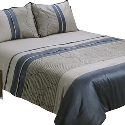 """Jenny George Designs - Zuma 4 piece Comforter Set - Zuma 4 piece comforter set featuring micropleating with wave embroidery design in platinum and slate color tones.  Dry Clean Olnly. Full set includes 1 comforter (85""""x89""""), 1 bedskirt (54""""x74""""x15"""") and 2 shams (20""""x26""""x2""""); queen set includes 1 comforter (90""""x92""""), 1 bedskirt (60""""x80""""x15"""") and 2 shams (20""""x26""""x2""""); king set includes 1 comforter (108""""x92""""), 1 bedskirt (78""""x80""""x15"""") and 2 shams (20""""x36""""x2"""")."""