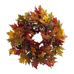 "Nearly Natural - Nearly Natural 24 inches Maple and Berry Wreath - Set your Autumn and holiday decorating ablaze (ok, not really) with this incredible Maple and Berry Wreath. A full 24"" in diameter, it will find an ideal home in your dining room, living room, or anywhere else that could use a touch of autumn (makes a great office decoration as well.) Best of all, the cornucopia of leaves, twigs, pinecones, and berries never needs care, and will stay looking fresh for years."