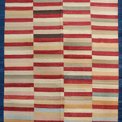 """ALRUG - Handmade Multi-colored Oriental Kilim  6' 10"""" x 10' 2"""" (ft) - This Afghan Kilim design rug is hand-knotted with Wool on Wool."""