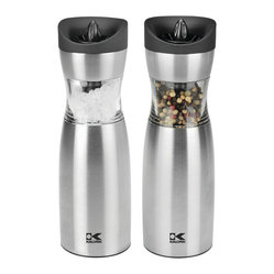 Kalorik - Single-handed Salt & Pepper Set - These gravity-controlled salt and pepper grinders would be a dream for a busy home cook. You can season a soup or a sauce with just one hand by positioning the grinder at an angle over your dish — an electric grinder does all the work! You can even adjust the coarseness of your seasoning.