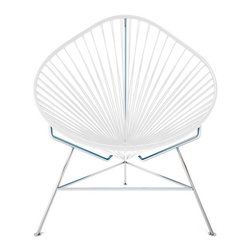 Acapulco Chair, Chrome Frame, White - A tripod metal base cradles this classic woven vinyl chair design. The modern look is ideal for outdoor use as it's weatherproof and easy to clean, but it's just as stylish inside your home. Pick from a rainbow of colors to add the perfect pop of color or stick with classic black.