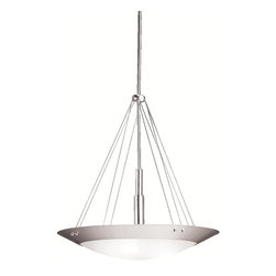 KICHLER - KICHLER Structures Contemporary Inverted Pendant Light X-IN4423 - From the Structures Collection, this Kichler Lighting inverted pendant light features a blend of modern and contemporary styling with a crisp Brushed Nickel finish and coordinating satin etched glass shade.