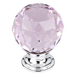 "Top Knobs - Pink Crystal Knob 1 3/8"" w/ Polished Chrome Base - Width - 1 3/8"", Projection - 1 6/8"", Base Diameter - 15/16"""