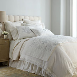 """Horchow - King Duvet Cover with Lace Flange, 112"""" x 98"""" - Lace trim and touches of silver add to the romance of Lili Alessandra's easy-care white linen """"Emily"""" bedding. Linens with lace flange, diamond-quilted linens, and dust skirts are machine washable. Gathered dust skirts with 22"""" drop fit queen- and k..."""