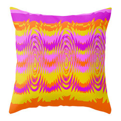 Crash Pad Designs - Modern Outdoor Pillow, Outdoor Pillow, Orange and Purple Outdoor Pillow - Add a splash of color  to your porch, patio, or deck. Perfect in any outdoor setting. Double sided print .Perfect in any outdoor setting. Double sided print . Fabric is a waterproof and mildew proof polyester.