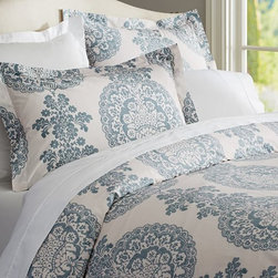 Lucianna Medallion Duvet Cover, Blue - Give your bedroom a makeover with this luxurious bedding featuring a damask design that will make you feel like royalty.