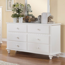 Homelegance - Homelegance Emmaline 6 Drawer Dresser in White - Soft country styling lends a warm touch to your little girls bedroom in the Emmaline Collection. The white finish provides a cheery statement while slat accents  molded details  wood knob hardware and turned legs lend a playfully traditional look.