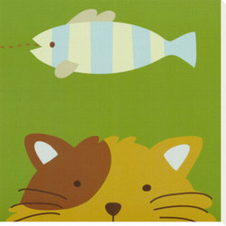 Artcom - Peek-a-Boo II, Cat by Yuko Lau - Peek-a-Boo II, Cat by Yuko Lau is a Stretched Canvas Print.