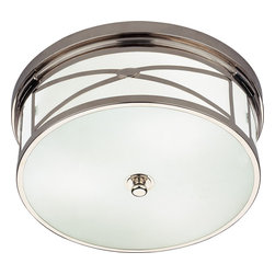 Robert Abbey - Chase Flushmount Light - Add an Art Deco touch to your foyer, hallway or other favorite setting. This handsome flushmount fixture features a frosted-white glass shade within a steel frame — in your choice of brass, nickel or bronze finish — for an effect that's simply elegant.