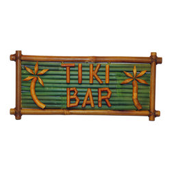 Bamboo54 - Sign Bamboo Tiki Bar - Your guests will know where to find the tropical drinks with the Tiki Bar Bamboo Sign. Made from real bamboo woods, the word Tiki Bar and two palm tree designs are crafted out of this naturally grown material, giving it the extra island style. Accent your bar or tropical area with this gorgeous and beautiful handcrafted sign. Great addiion to your ouside entertaining bar or above a Maui Dean Tiki Bar.