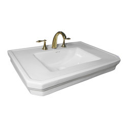 Renovators Supply - Sink Parts White Vitreous Victoria Basin Sink ONLY 8'' Wspread - PART: Victoria Basin Sink ONLY 8 in. widespread. For pedestal sink 17817 only.