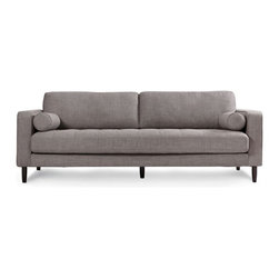 Freeman Sofa in Grey Tweed - Our ode to mid century modern American furniture, the Freeman creates a striking statement in any room. A great investment for a chair with timeless design. Two side cushions included as pictured.