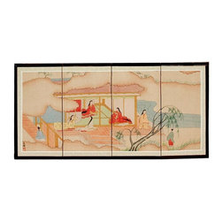 Oriental Unlimted - Hand-Painted Riverside Serenity Wall Art Scre - Choose Size: 36 in. W x 18 in. HScreens may vary slightly in color. The Riverside Serenity motif includes minor Taoist divinities on a heavenly outing. Subtle and beautiful hand painted wall art for a fraction of the cost of a comparable print. Large hand painted ink and watercolor silk screen. Song dynasty (10th century China) brush art style. Can be displayed as a privacy screen. Can be folded partly to stand upright on a table or floor. Crafted from silk covered paper, glued over 4 side-by-side lacquered wood frames. Matted with a fine Chinese silk brocade border. Comes with lacquered brass geometric hangers for easy mounting. Note that no 2 renderings are exactly the same. 36 in. W x 18 in. H. 48 in. W x 24 in. H. 72 in. W x 36 in. H. Each screen: .63 in. deep