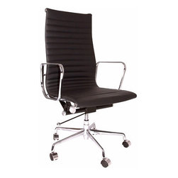 Ariel - Eames Style Executive Top Grain Italian Leather Designer High Office Chair, Blac - The perfect combination of elegant style and sophistication, the Eames Style Executive Leather Designer High Office Chair is one of the most important chairs you can buy for your home office. Made of 100% top grain genuine leather upholstery mixed, with chromed aluminum to create an organic and futuristic look that will accent any space. Available in white or black leather.