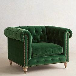 Velvet Lyre Chesterfield Armchair, Emerald -