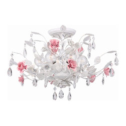 Crystorama - Crystorama Lola Flush Mount Ceiling Fixture in Antique White - Shown in picture: Wall sconce with hand-painted wrought iron - metal rose accents - and hand-cut crystal accents.; In Crystorama�s Lola Collection - we pair the graceful curves of hand-painted wrought iron with the soft crystal accents. From sunrooms - to powder rooms - to children�s rooms - the Antique White finish mixed with the Pink rose accents allows this series to match any soft traditional d̩cor.