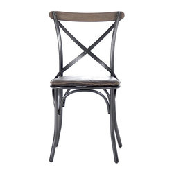 "Zentique - Zain Dining Chair by Zentique - The classic Tuileries Chair gets a rustic update. Crafted of black iron with the familiar ""x"" strapping, a dark brown leather cushion was added. The raw edging offers some primitive character. (ZEN)"