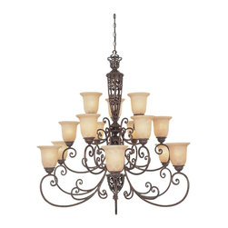 Designers Fountain - Designers Fountain Amherst Traditional Chandelier X-UB-518579 - Three tiers of lights and classic influencing ensure that this Designers Fountain chandelier will add ample light and style to any setting. From the Amherst Collection, it comes finished in a bold Burnt Umber hue that accentuates all the finer details. Beautiful antique harvest beige glass shades complete the look.