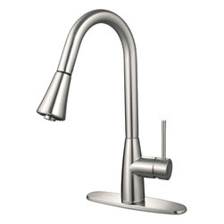 Hardware House - Hardware House 16-3002 Satin Nickel Kitchen Faucet w/ Pull Out Sprayer - Ceramic cartridge