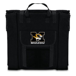 Picnic Time - University of Missouri Stadium Seat in Black - The Stadium Seat is ideal for anyone who enjoys sporting events, concerts, or other arena activities. This padded seat is made of durable 600D polyester and provides maximum seat support, which is especially useful when sitting on hard bleacher seats or benches. EPE foam in the seat's core also insulates your seat from cold bleachers. A large zippered pocket keeps all of your essentials within reach. Convenient carry straps allows the seat to be carried as a folded tote. You'll want to take the Stadium Seat to every spectator event to ensure your seating comfort.; College Name: University of Missouri; Mascot: Tigers/Mizzou; Decoration: Digital Print
