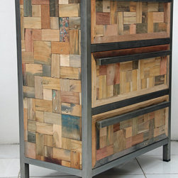 3 Drawer Dresser / Storage Cabinet - A 3 drawer, compact dresser cabinet made from salvaged / reclaimed fishing boat wood and a tube steel frame.  This furniture has a rustic / modern / industrial look and is very well made.