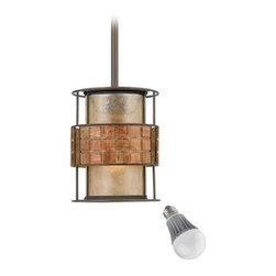 Quoizel Lighting - Laguna Mica Mini-Pendant with LED Bulb - MC842PRC/8W LED - The height is adjustable to hang a minimum of 16-inches to a maximum of 46-inches in length. Includes one 9.5-watt LED bulb based on a breakthrough and patented technology to last 6 times longer than compact fluorescent bulbs and 35 times longer than an incandescent. Features a medium base with white diffuser and vented heat sink. Takes (1) 9.5-watt LED A19 bulb(s). Bulb(s) included. Dry location rated.