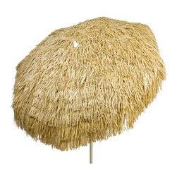 DestinationGear - Palapa Tiki Umbrella 6 ft, Brown, Patio - Turn up the Island sounds and get out of the sun with this high quality, well-appointed product from DestinationGear. A strong a sturdy aluminum frame provides the mechanical advantage of the umbrella.  A 6 foot diameter span with 3-position tilt provides lots of shade to help keep the drinks cool on a sunny day in your yard, around the pool or at the beach. The staggered polypropylene material is UV resistant and holds its color for years.