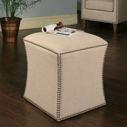 Abbyson Living Berly Nailhead Trim Ottoman - Cream - Give your living room an instant, shapely update with the Abbyson Living Berly Nailhead Trim Ottoman- Cream. This neat and modern ottoman features a graceful and subtle hourglass shape and is made from durable hardwood solids. The frame is finished in textured cream cotton linen and accented with a classic silver nailhead trim. It's a design element perfect for the home with traditional tastes and a contemporary eye.About AbbysonBased in California, Abbyson has been America's leading home lifestyle furnishings brand since 1989. Following a mission that aims to combine style, function, affordability, sustainability and diversity into all their products, Abbyson creates classic and transitional designs that let their customers regain the control in the environments that they call home. With operations in Italy, China, and Germany, Abbyson focuses on using the finest materials, craftsmen, and techniques, from their classic leather furniture sets to organic, hand-knotted Tibetan rugs. Abbyson recently partnered with the Sustainable Furnishings Council as part of their effort to find new ways to bring sustainable practices to home furnishings marketplace. Through their green initiatives and everyday design and construction practices, Abbyson keeps striving to meet their customer's lifestyle needs, and revitalize their day-to-day routines.