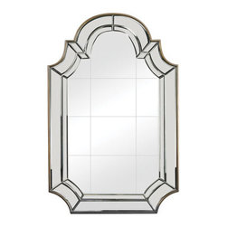 """Sterling Industries - Sterling Industries 114-81 Tiled Face Mirrors in Antique Gold - 46"""" Tall And With A Tiled Mirror Face The Outline And Curves Of This Heavy Mirror Are Rooted In Tradition, The Lines And Angles And Accent Finish Are Clean Making It Versatile And Suited To Grounding A Wide Range Of Spaces."""