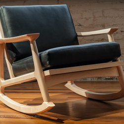Furniture - Rocking chairs, so much more than just a chair. The Mid Century inspired Masaya Rocker takes up very little floor space, and by reversing the seat and back cushion you can change the depth of the seat to better fit your body. Mortise & tenon joinery mean it's made to last for generations. Pick the leather or fabric from our wide selection, then choose your wood. We offer FSC® certified Cherry, Walnut, Maple and Teak standard, but you can choose any other wood or fabric/leather you can think of.