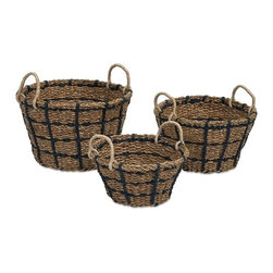 """IMAX CORPORATION - Cunningham Woven Baskets with Handles - Set of 3 - Beautifully hand woven, this set of three baskets feature black accents and are great for staying organized. Set of 3 baskets in varying sizes measuring approximately 6-8-15.75""""H x 8-10-12""""W x 12-14-15.75"""" each. Shop home furnishings, decor, and accessories from Posh Urban Furnishings. Beautiful, stylish furniture and decor that will brighten your home instantly. Shop modern, traditional, vintage, and world designs."""