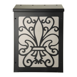 Blink Fleur de Lis Mailbox Wall-Mount - Blink Fleur de Lis Shadowbox Mailbox, wall-mount, for $145 and free shipping.  Color shown is black and nickel.