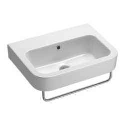 GSI - Curved Rectangular Wall Mounted Ceramic Bathroom Sink - Beautiful modern and contemporary curved rectangular bathroom sink. This sink is made out of the highest quality ceramic with a white finish. Sink includes overflow and the option for no faucet holes, one hole, or three holes. Made by GSI in Italy.
