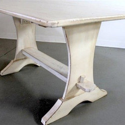 White Trestle Table From Reclaimed Barn Wood - Made by http://www.ecustomfinishes.com