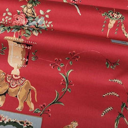 Azweema Floral Fabric in Red - Azweema Floral Fabric in Red is a European, 100% Combed Cotton Sateen with a classic floral print perfect for window treatments or bedding and pillows. The traditional floral patterns play alongside wild animals like tigers, elephants, monkeys, and tropical birds, creating an interesting look. This smooth sateen is a wonderful way to add a touch of the exotic to an otherwise traditional design. Width: 54″ Repeat: 25.25″